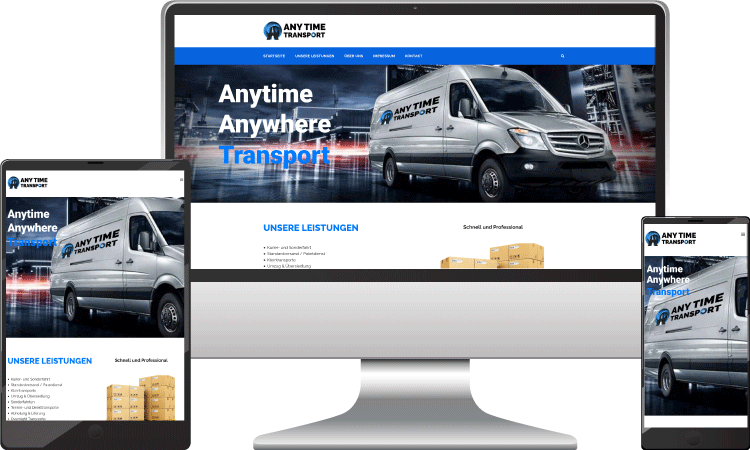 Logistik Webseite, Webseite webdesign, anytime-transport.at