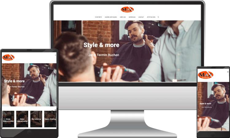Wordpress design, Webdesigner Wien, Friseur Webseite Wien, max-friseur.wien